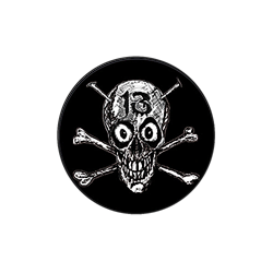 13 Skull (no logo) Alien Sex Fiend Badge - Blue Crumb Truck